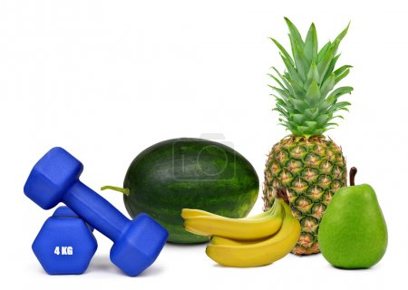 Blue fitness dumbbells with fruits