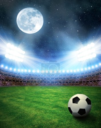 Photo for Soccer ball in grass, soccer stadium with the dright lights - Royalty Free Image
