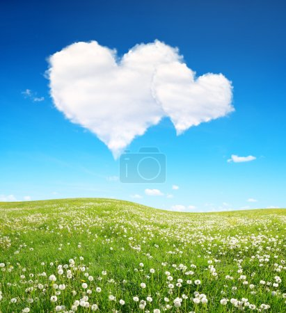 Spring meadow and blue sky with a white clouds in the form of heart.