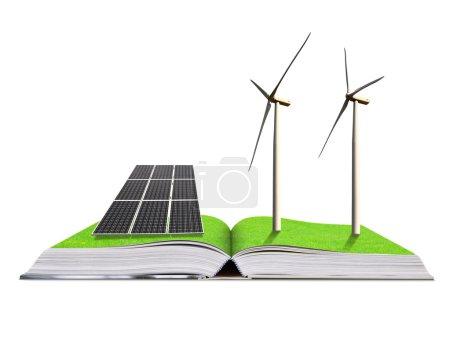 Foto de Libro ecológico con panel solar y aerogeneradores aislados sobre fondo blanco. Concepto de energía limpia . - Imagen libre de derechos