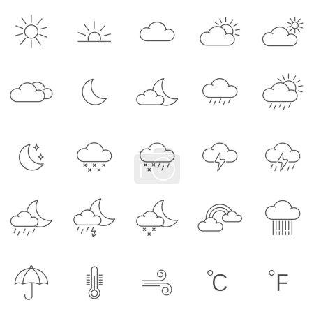Photo pour Icônes météo, ensemble. illustration - image libre de droit