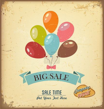 Illustration for Colorful vector illustration of vintage and retro sale label - Royalty Free Image