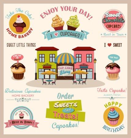 Illustration pour Illustration vectorielle colorée de la collection Cupcake Design Elements - image libre de droit