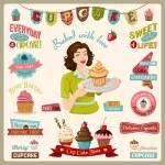 Colorful vector illustration of Cupcake Design Ele...