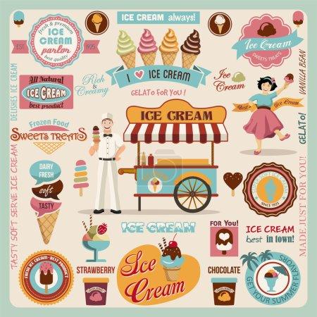 Illustration pour Collection d'éléments de conception de crème glacée. illustration vectorielle - image libre de droit