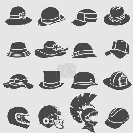 Hat icons set.