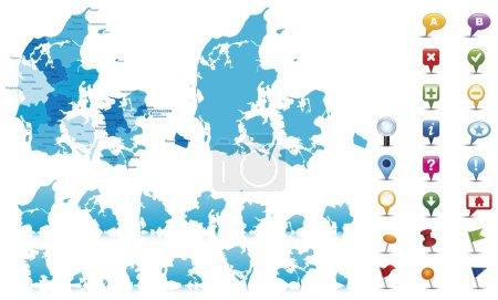 Illustration for Denmark - highly detailed map. Vector illustration - Royalty Free Image