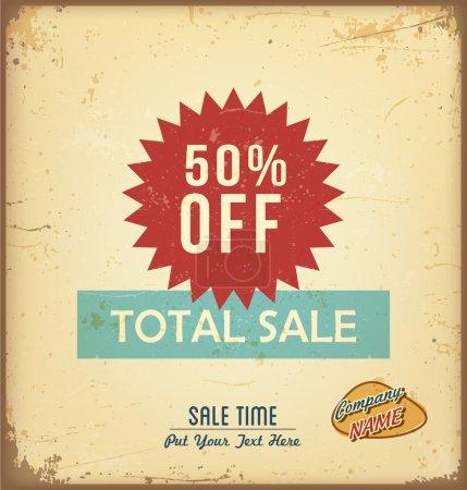 Illustration for Vintage total sale label. Vector illustration - Royalty Free Image