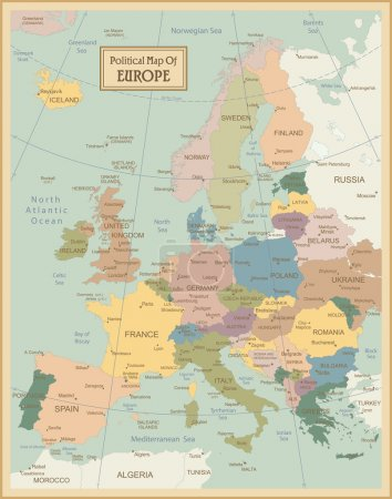 Illustration for Europa-highly detailed map. Vector illustration - Royalty Free Image