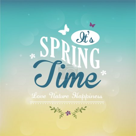 Illustration for It's Spring Time text. Vector illustration - Royalty Free Image
