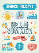Summer Labels and Design Elements Vector illustration
