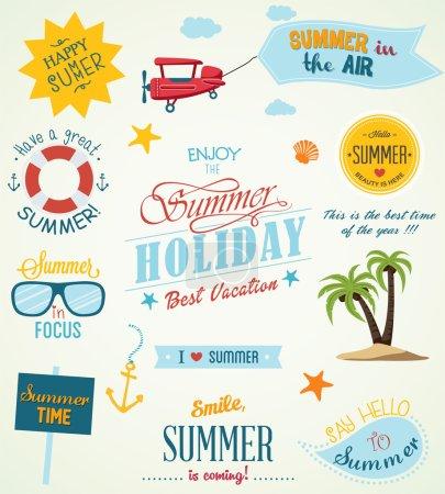 Illustration pour Étiquettes d'été et éléments de design, illustration vectorielle - image libre de droit