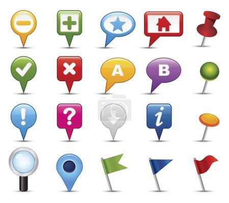 Illustration pour Icônes de navigation plates réglées. Illustration vectorielle - image libre de droit