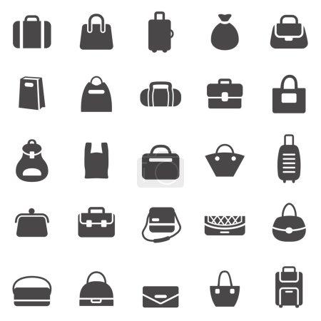 Illustration pour Sacs icônes noires ensemble. Illustration vectorielle - image libre de droit