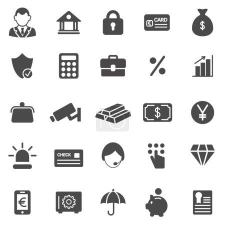 Illustration pour Ensemble d'icônes noires de banque. Illustration vectorielle - image libre de droit