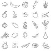 Fruits and vegetables line icons set Vector Illustration