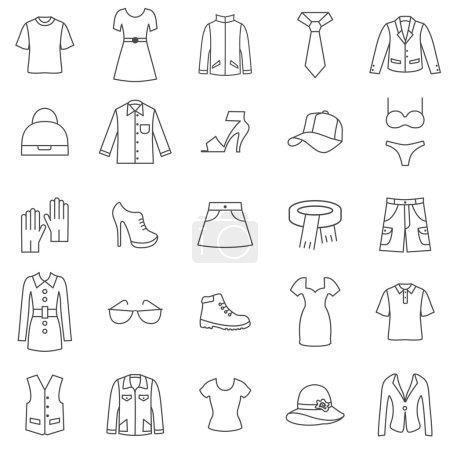 Clothes line icons set