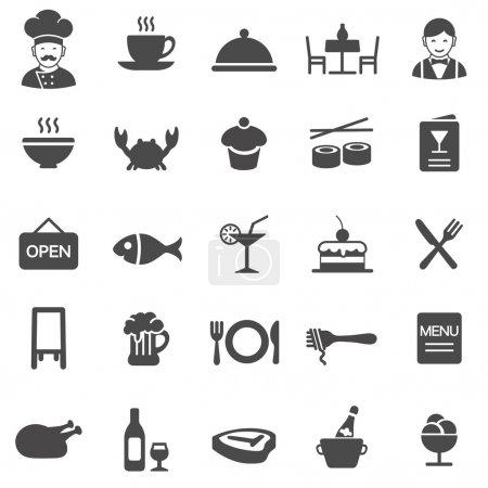 Illustration pour Ensemble d'icônes noires restaurant - image libre de droit