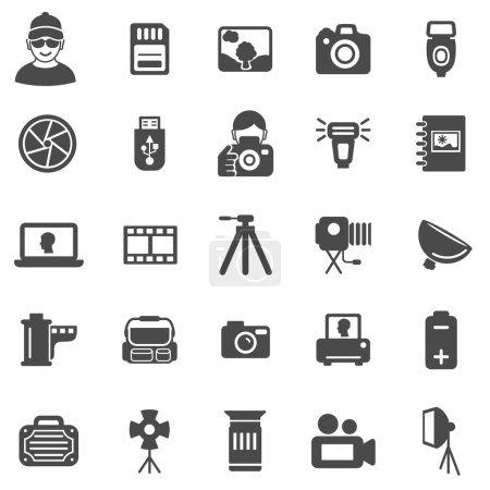 Illustration for Photo black icons set - Royalty Free Image