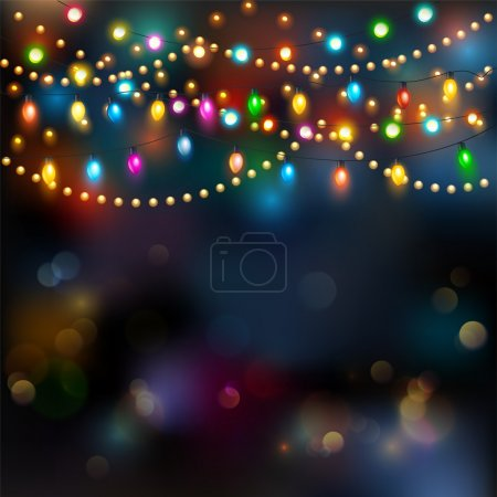 Illustration for Christmas lights background, happy holiday season - Royalty Free Image