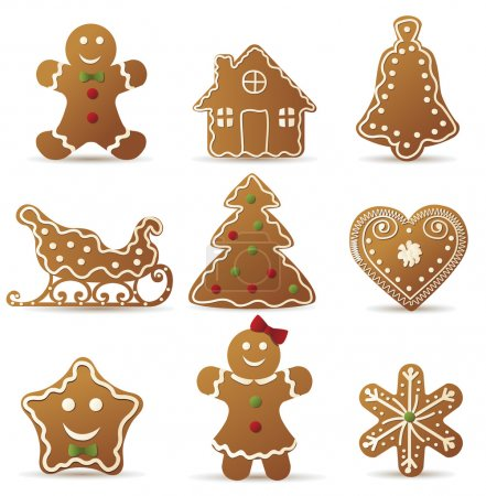 Christmas gingerbreads set on white background...