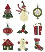 Retro Christmas icons on white background