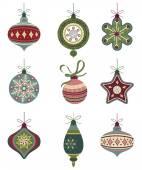 Retro Christmas icons on white background