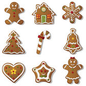 Christmas gingerbreads set on white background