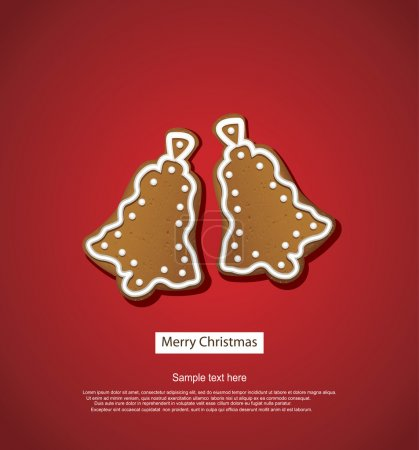 Christmas greeting card, gingerbreads on red backg...