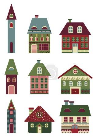 retro houses set