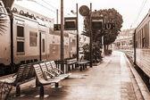 Nice, Francie, na 10 března 2015. Náklady na vlak na nástupišti stanice městské