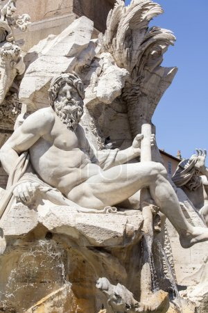 ROME, ITALY, on AUGUST 25, 2015. The sculpture decorating the Fountain of Four rivers (ital. Fontana dei Quattro Fiumi) on Navon Square - one of the best-known fountains of Rome