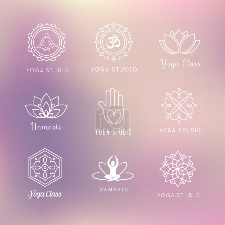 Illustration for Collection of vector yoga icons - symbols. Meditation, relaxation, wellness. - Royalty Free Image