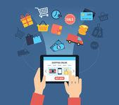 Nakupování Online pozadí - zákazník koupí věci Online