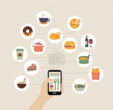 Illustration for Food background - food blogging, reading about food, searching for recipes or ordering food online. Flat design style. - Royalty Free Image