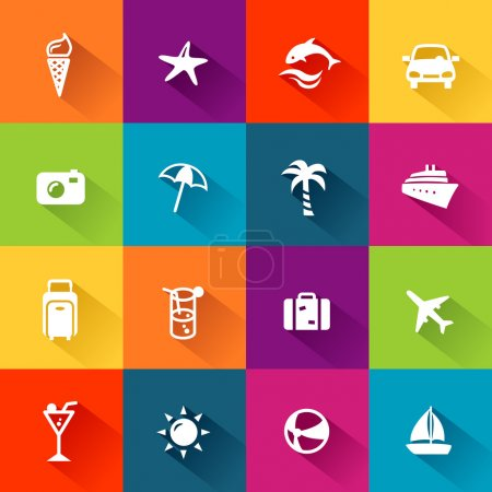 Illustration for Summer and travel icons in modern, flat design style - Royalty Free Image