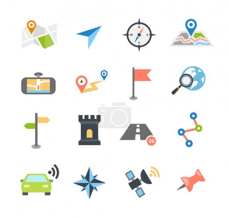 Illustration for Collection of navigation icons - arrows, pointers and navigational equipment. Can be used for maps, plans, mobile apps. Usable for web or print. - Royalty Free Image