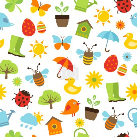 Illustration for Cute spring background - seamless pattern with icons representing spring activities, nature and fresshness. - Royalty Free Image