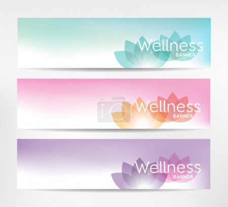 Illustration for Wellness banner with lotus flower - for relaxation, healthcare topics. - Royalty Free Image