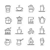 Káva ikony set, tenké linie designu