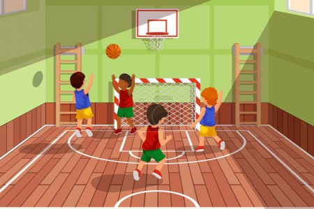 School basketball team playing game. Kids are playing, vector illustration
