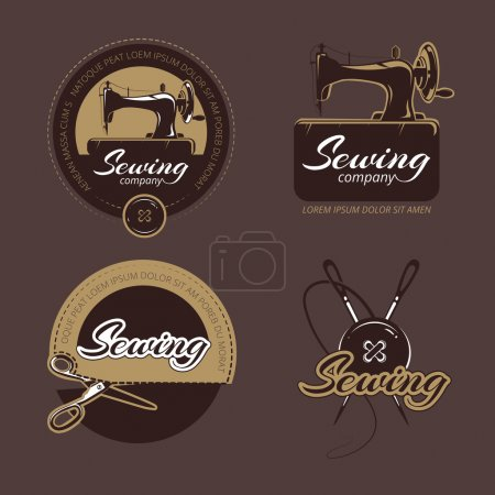 Retro sewing and tailoring vector logo, labels badges set