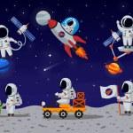 Постер, плакат: Astronauts vector characters set in flat cartoon style