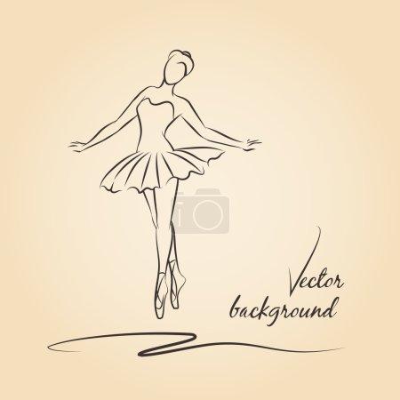 Illustration pour Ballerine vectorielle esquissée. Performance fille ballerine, ballet et dessin de ballerine, belle danseuse ballerine illustration - image libre de droit