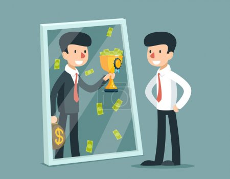 Businessman standing in front of mirror and see himself being successful. Vector business concept