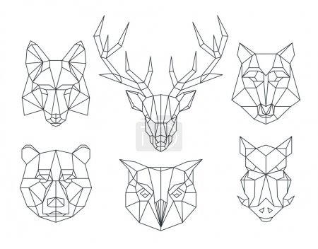 Low poly animals heads. Triangular thin line vector set