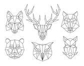 Low poly animals heads Triangular thin line vector set