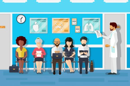 Patients in doctors waiting room. Vector illustration
