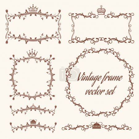 Illustration for Retro vector frames and headers. Header vintage, frame vintage, decoration vintage frame, decor frame element, wedding vintage frame illustration - Royalty Free Image