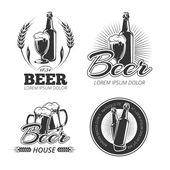 Vintage beer vector emblems labels badges logos set